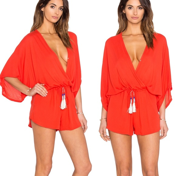 YOUNG FABULOUS & BROKE Shorts Romper Red Tassels